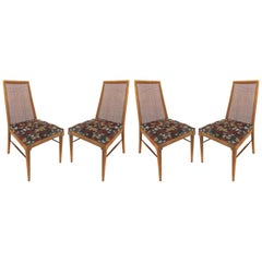 Foster-McDavid Mid-Century Modern Dining Chairs with Caned Backs
