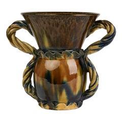 Foucard-Jourdan Vallauris French Twin Handled Streak Glazed Vase