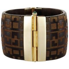Fouché Art Deco Horn Emerald Ruby Sapphire Engraved Cuff Bracelet
