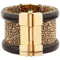 Fouché Cuff Leopard Bracelet Gold Horn Emerald Ruby Sapphire