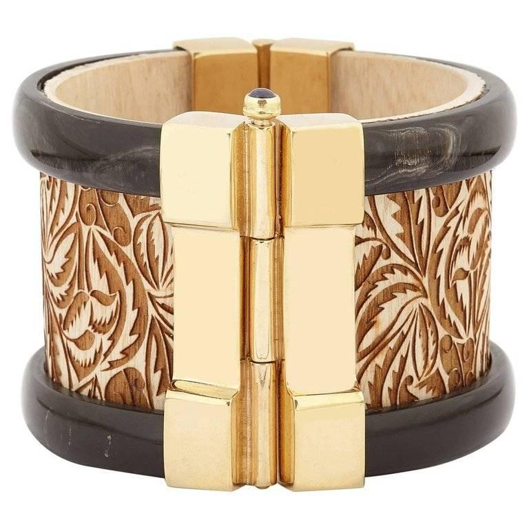 Fouché Bespoke Gold Horn Sapphire Emerald Ruby Wood Cuff