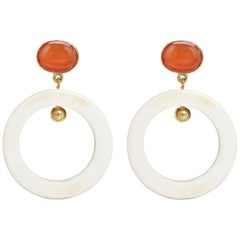 Fouché Carnelian Horn Dangle Hoop Earrings