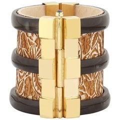 Fouché Cuff Bracelet Diana Vreeland Gold Horn Sapphire Wood