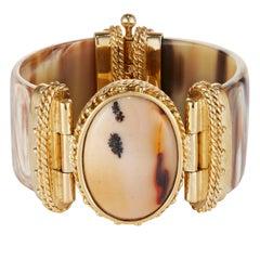 Fouche Agate Horn Gold Cuff Bangle