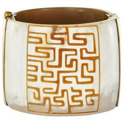 Fouche Art Deco Cuff Bracelet Africa Horn