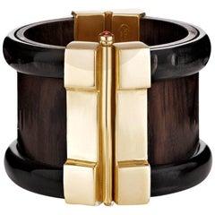 Fouché Art Deco Horn Wood Emerald Ruby Sapphire Cuff Bracelet