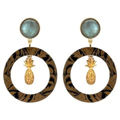 Fouché Art Deco Labradorite Pineapple Horn Earrings