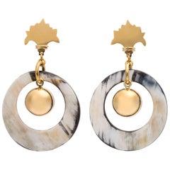 Fouché Art Deco Style Horn Africa Silver Dangle Drop Earrings