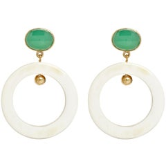 Fouche Chrysoprase Dangle Hoop Horn Earrings