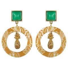 Fouche Chrysoprase Sugarloaf Pineapple Hoop Earrings