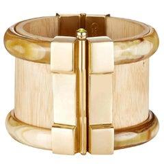 Fouché Cuff Bracelet Bespoke Gold Horn Wood Ruby Emerald Fire Opal