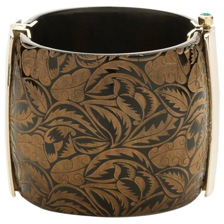 Fouche Cuff Bracelet Horn Art Deco Emerald