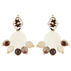 Fouche Dangle Chandelier Horn Bone Earrings