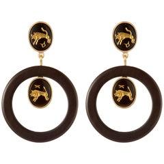 Fouche Dangle Hoop Horn Onyx Earrings