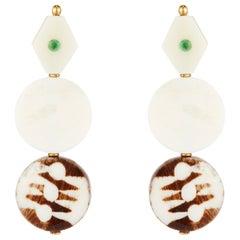 Fouche Emerald Bone Batik Earrings