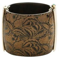 Fouche Horn Emerald Art Deco Cuff Bracelet
