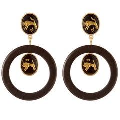 Fouche Onyx Dangle Hoop Horn Earrings