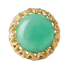 Fouche Solitaire Cocktail Chrysoprase Gold Ring