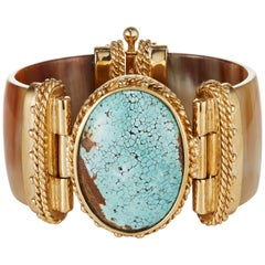 Fouche Turquoise Gold Cuff Bracelet