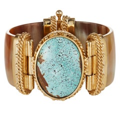 Fouche Turquoise Gold Horn Bangle Cuff