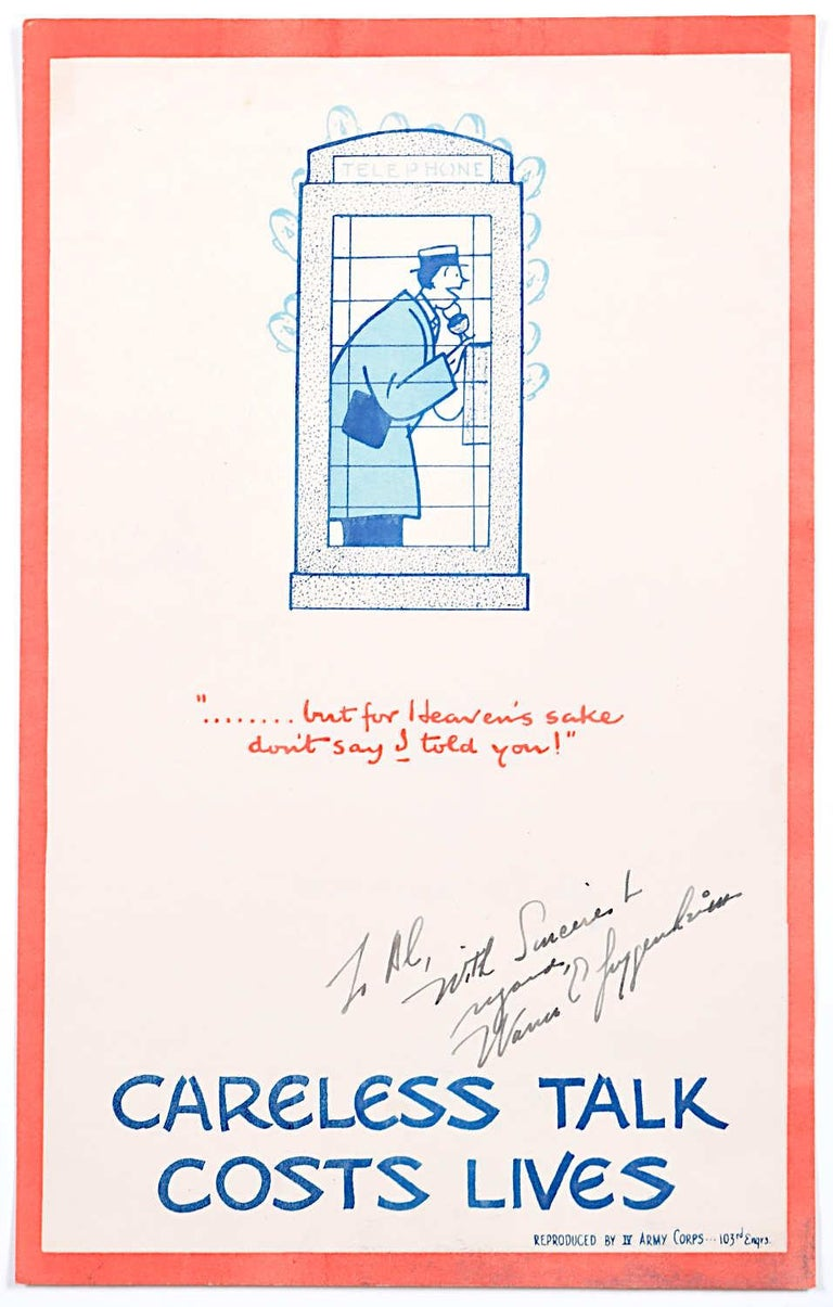 Fougasse (Cyril Kenneth Bird) Print - Careless Talk Costs Lives 'Fougasse' IV Army Corps Edition World War 2 Poster
