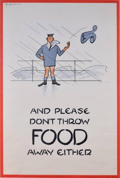 Fougasse 1941 large poster: And please don't throw food away either (Navy)