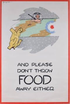 Fougasse 1941 large poster: And please don't throw food away either (RAF)