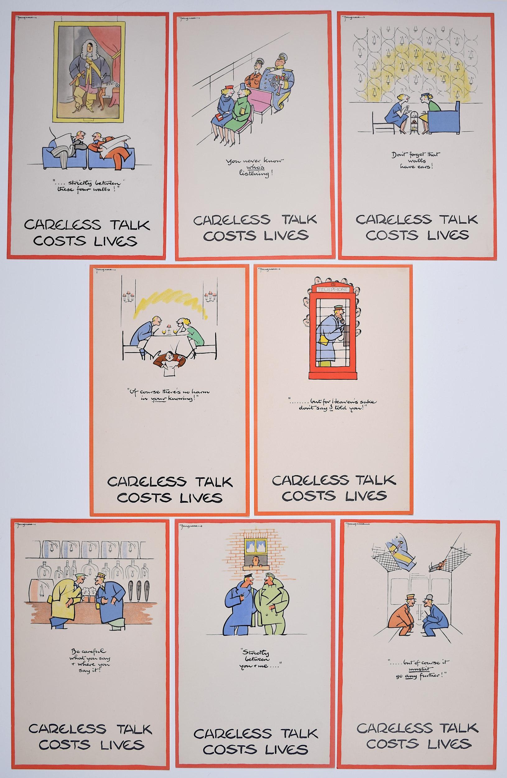 Fougasse Careless Talk Costs Lives Full Set c. 1940 original World War 2 posters