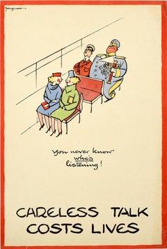 Original Vintage Poster Careless Talk Costs Lives WWII Public Bus Design Warning