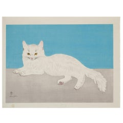 Foujita, Persian White Cat, Original Woodblock Print, Early 20th Century Art