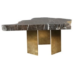Found Coffee Table in Grey Marble and Steel with Gold Leaf Finish by A Space