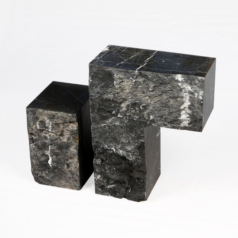 Minimalist Found II Black Marble Side Table by A Space For Sale