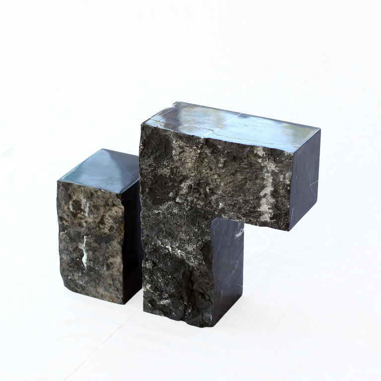 European Found II Black Marble Side Table by A Space For Sale
