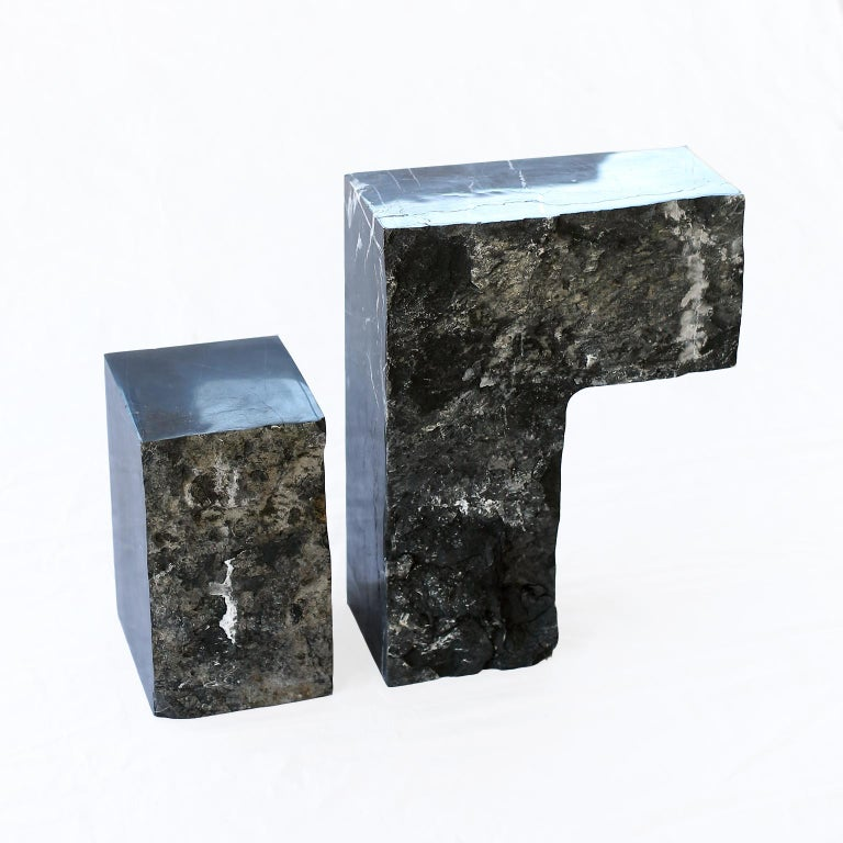 Found II Black Marble Side Table by A Space In New Condition For Sale In Brooklyn, NY