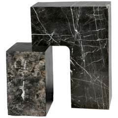 Found II Black Marble Side Table by A Space