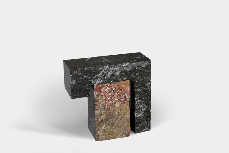 Minimalist Found II Black Marble Side Table No.5 by A Space For Sale