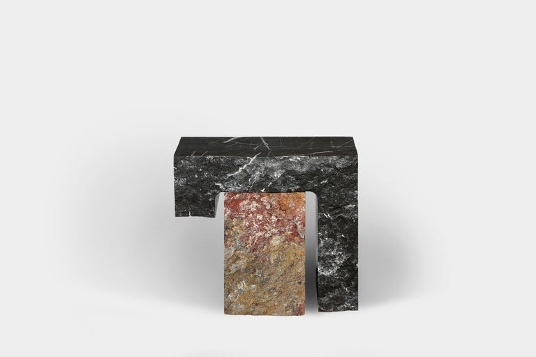 European Found II Black Marble Side Table No.5 by A Space For Sale
