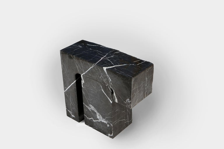 Found II Black Marble Side Table No.5 by A Space In New Condition For Sale In Brooklyn, NY
