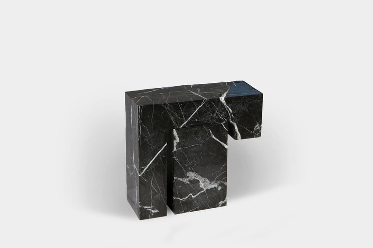 Contemporary Found II Black Marble Side Table No.5 by A Space For Sale