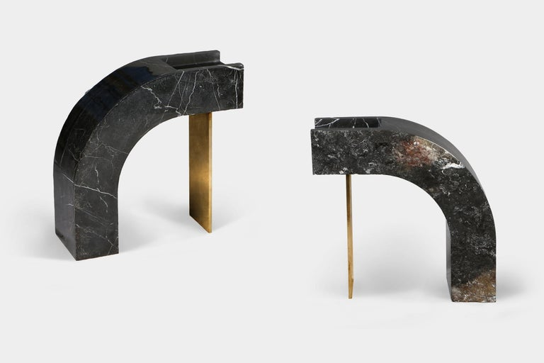 Steel Found II Black Marble Side Table No.6 by A Space For Sale