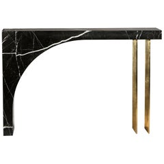Found II Console Table No.2 in Black Marble by A Space