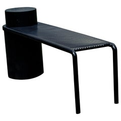 Foundation Bench Black Marquina Marble and Powder-Coated Black Metal Seat