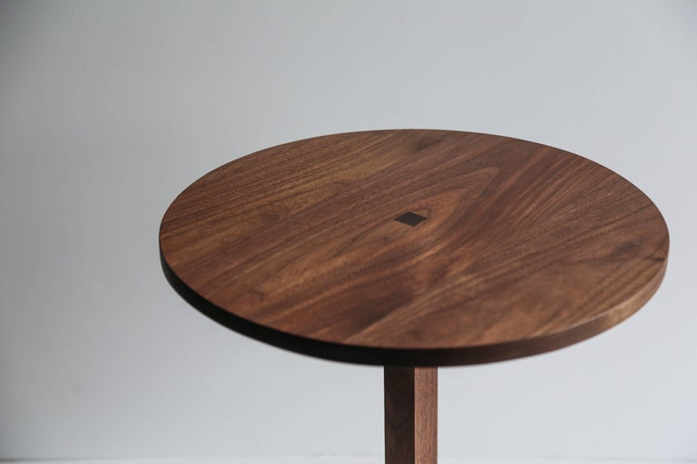 American Contemporary Foundation Side Table in Walnut Wood and Stone by Fort Standard For Sale