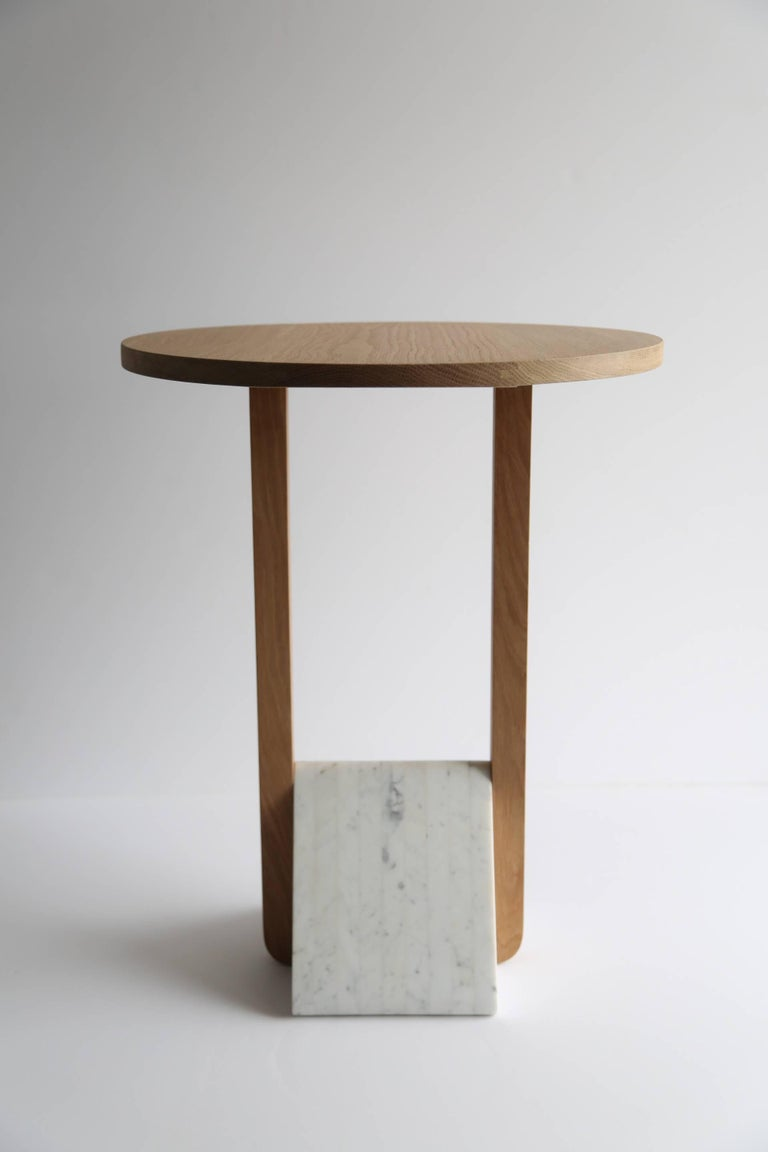 Contemporary Foundation Side Table in Walnut Wood and Stone by Fort Standard For Sale 1