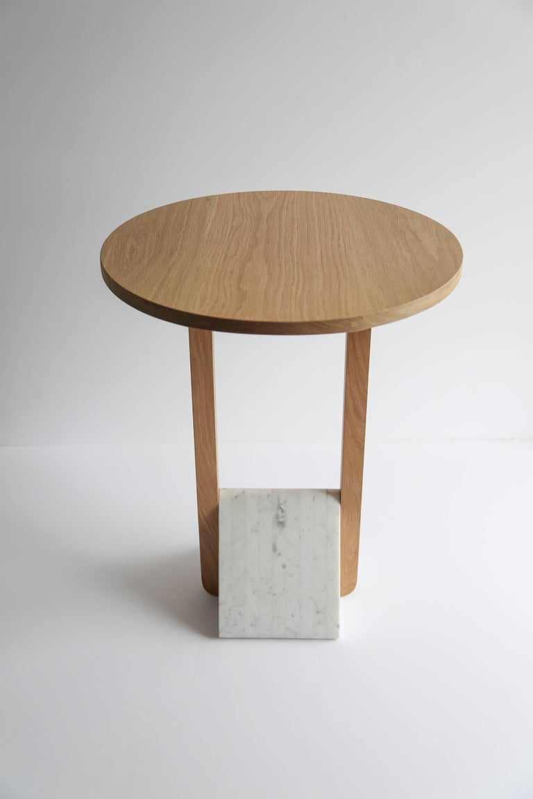 Contemporary Foundation Side Table in Walnut Wood and Stone by Fort Standard For Sale 2