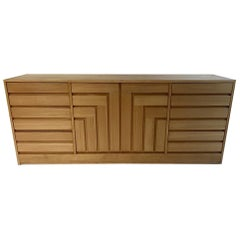 Founders Furniture 1970s Geometric Cubist Front Blonde Credenza, Chest, Dresser