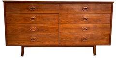 Founders Mid-Century Walnut 8-Drawer Dresser Credenza Carved Handles