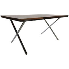 Founders Solid Plank Rosewood and Chrome X-Base Desk/Table