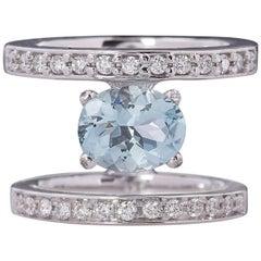 "Ugolini White Gold 3.1 Karat Aquamarine White Diamonds ""Fountain"" Cocktail Ring"