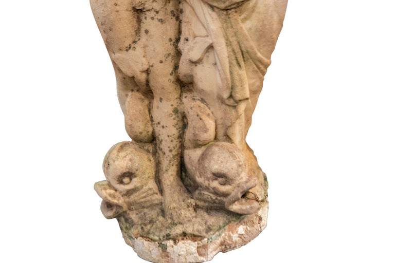 Neoclassical Fountain Top with Two Feminine Figures, Carrara Marble, France, 18th Century For Sale